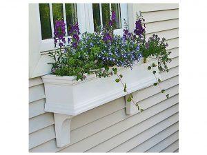 "30"" Charleston PVC Self-Watering Window Box - No Rot w/ 2 Brackets"