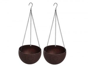 Round Plastic Resin Chain Basket Hanging Planter
