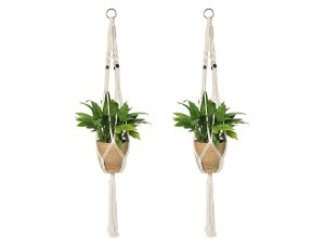 2PCS Macrame Plant Hanger Indoor Outdoor Hanging Planter Basket Cotton Rope 4 Legs 39 Inch