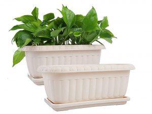 Rectangular Planter Window Box, Plastic Garden Pot with Saucers