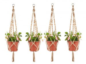 Accmor 4 Pack Plant Hanger 4 Legs 3.3 ft with Beads & Ring, Strong Handmade Jute Indoor Outdoor Patio Deck Ceiling Plant Holder for Round Square Pots, Retro Feeling Unmatched Finesse