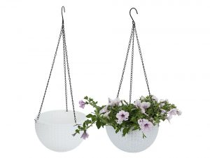 T4U Plastic Hanging Planter, Self Watering Basket Round Flower Plant