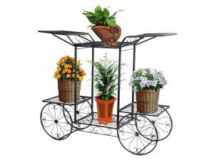 Dazone Metal Cart Flower Rack, Plant Stand Holder