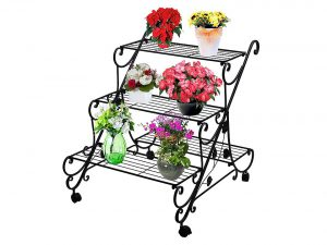 AISHN Plant Flower Stand Rack Display with Wheels- 4 Tier Large Metal Muti Planter Flower Pot Holder Step Design Shelving, Freestanding Home Decor Shelves Form
