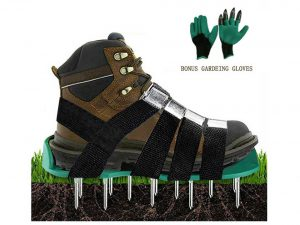 Lawn Aerator Shoes Heavy Duty Aerating Spiked Soil Sandals with 4 Adjustable Straps & Metal Buckles