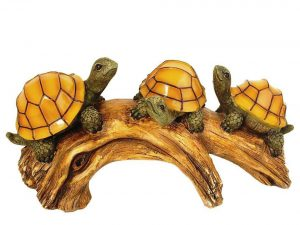 Moonrays Solar-Powered Outdoor LED Light Garden Décor, Turtles on a Log