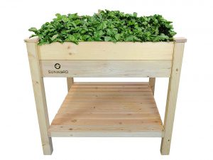"Sunward Patio Raised Garden Bed Kit / 36"" x 36"" Toolless Construction For Easy Assembly / Perfect For Summer Gardening"