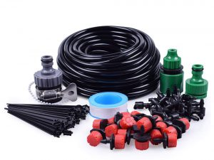 "MIXC Drip Irrigation Kits Accessories Plant Watering System with 50ft 1/4"" Blank Distribution Tubing Hose, 20pcs Drippers, 19pcs Barbed Fittings, Support Stakes, Quick Adapter"
