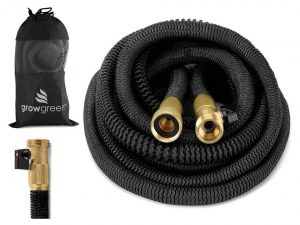 GrowGreen HEAVY DUTY 50' Feet Expandable Hose Set with Solid Brass Connector & Storage Sack