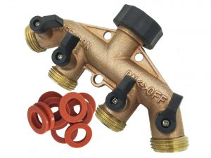 SOMMERLAND Heavy Duty Brass 4 Way Garden Hose Shut Off Connector