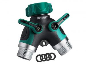 Homitt 2 Way Hose Splitter with Comfortable Rubberized Grip