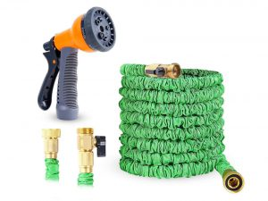 Ohuhu Expandable Garden Water Hose with 3/4 Solid Brass Fittings & 8 Function High Pressure Spray Nozzle