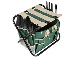 Homdox 7 Piece Garden Tool Set. Kit Includes Detachable Storage Tool Bag, Folding Stool Seat and 5 Stainless Steel Gardening Tools