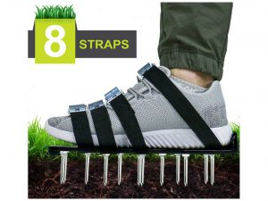 Blissun Lawn Aerator Shoes, 4 Aluminum Alloy Buckles Spiked Aerating Lawn Sandals