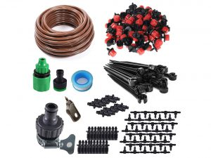 "KORAM 100ft 1/4"" Blank Distribution Tubing Irrigation Gardener's Greenhouse Plant Cooling Suite Watering Drip Repair and Expansion Kit Accessories include Universal Spigot Connector"