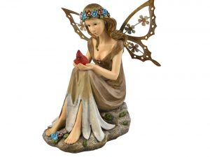 Moonrays Solar Powered Garden Fairy with Glowing Cardinal