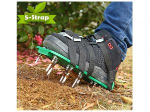 Ohuhu Lawn Aerator Shoes with Heavy Duty Spike Aerating Lawn Soil Sandals & 4 Adjustable Buckles Straps