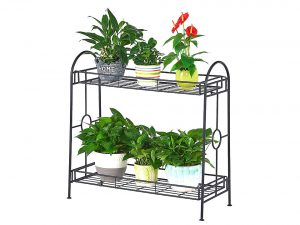 FaithLand Steady 2-Tier Metal Plant Stand Flower Pot Holder for Indoor Outdoor Decor