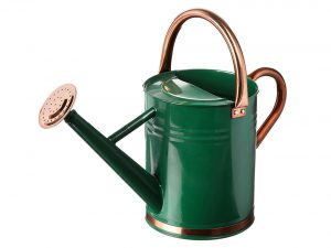 Gardman Hunter Green Galvanized Steel Watering Can with Copper Accents