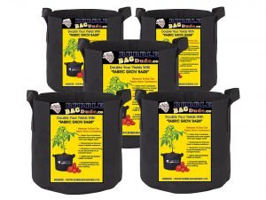 BUBBLEBAGDUDE Grow Bags 5-Pack Breathable Fabric Containers Round Aeration Growing Garden Hydropnic Pot with Sturdy Handles