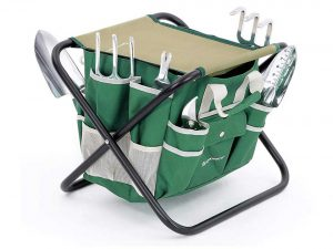 SONGMICS 8 Piece Garden Tool Set Includes Garden Tote Folding Stool & 6 Hand Tools