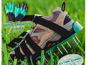 Lawn Aerator Spiked Shoes with Heavy Duty Metal Buckles for Effective Soil Aeration